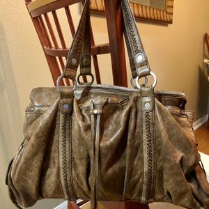 JUNIOR DRAKE large brown leather satchel handbag